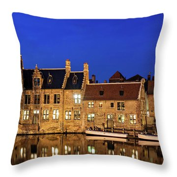 Houses By A Canal - Bruges, Belgium Throw Pillow