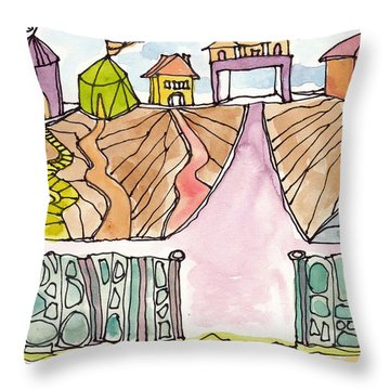 Houses By The Sea Throw Pillow by Linda Kay Thomas