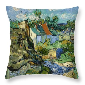 Throw Pillow featuring the painting Houses In Auvers by Van Gogh