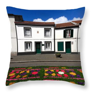 Houses In The Azores Throw Pillow by Gaspar Avila