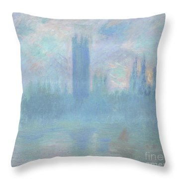 Houses Of Parliament  London Throw Pillow by Claude Monet