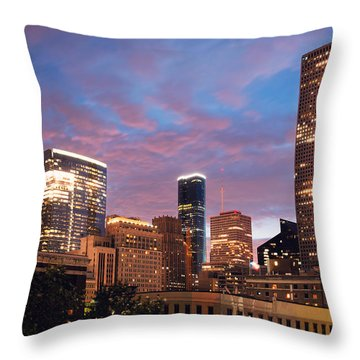 Throw Pillow featuring the photograph Houston At Night by Ray Devlin