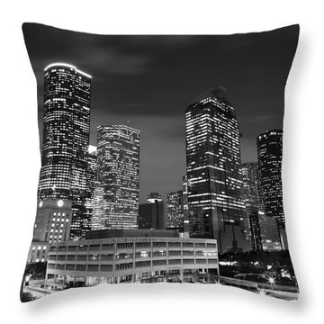 Houston By Night In Black And White Throw Pillow