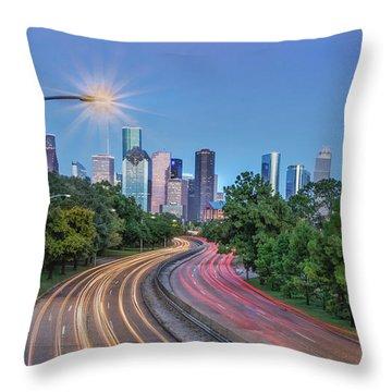 Houston Evening Cityscape Throw Pillow