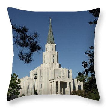 Houston Lds Temple Throw Pillow