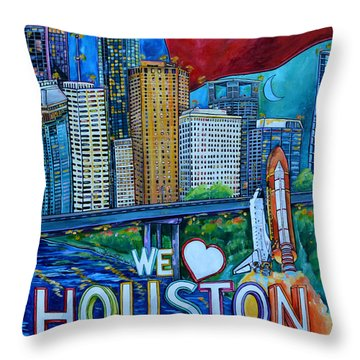 Houston Montage Throw Pillow