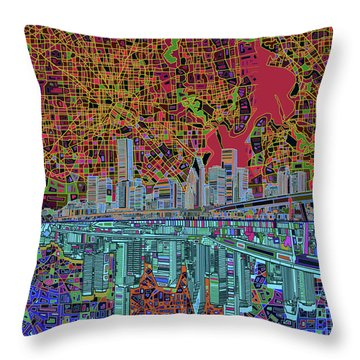 Houston Skyline Abstract 3 Throw Pillow by Bekim Art