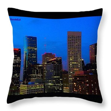 #houston #skyline At #night. #lights Throw Pillow