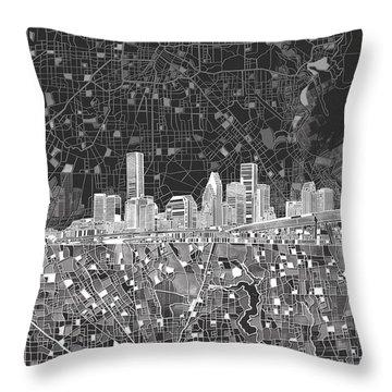 Houston Skyline Map Black And White Throw Pillow