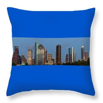 Throw Pillow featuring the photograph Houston Skyline Panorama by Jonathan Davison
