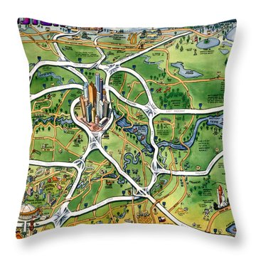 Houston Texas Cartoon Map Throw Pillow