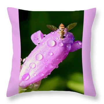 Hoverfly On Pink Flower Throw Pillow