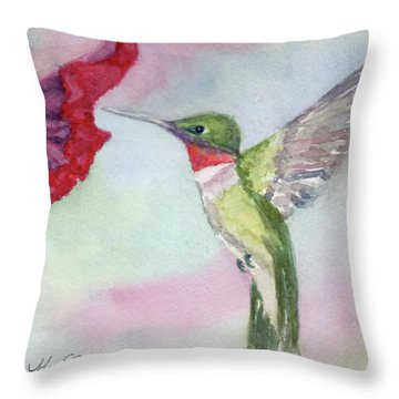 Hovering Ruby Throw Pillow