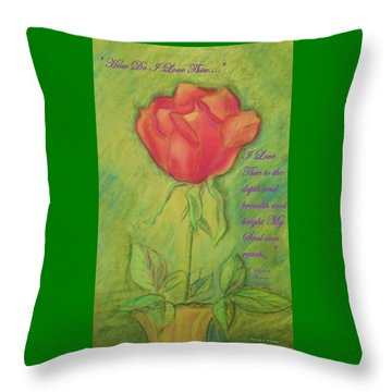 Throw Pillow featuring the drawing How Do I Love Thee ? by Denise Fulmer