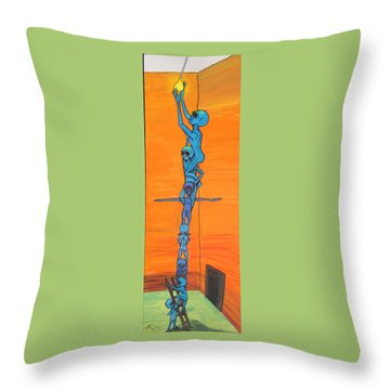 Throw Pillow featuring the painting How Many Aliens Does It Take To Screw In A Light Bulb?  Seven. by Similar Alien