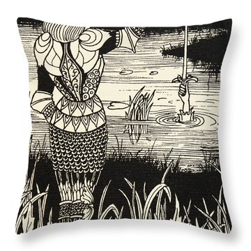 How Sir Bedivere Cast The Sword Excalibur Into The Water Throw Pillow