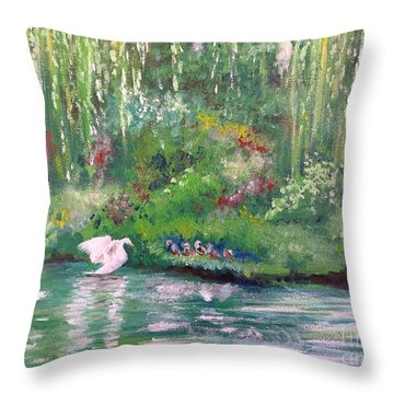 How To Swan Throw Pillow