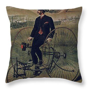 Howe Bicycles Tricycles Vintage Cycle Poster Throw Pillow