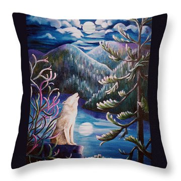 Throw Pillow featuring the painting Howlin' The Blues by Renate Nadi Wesley