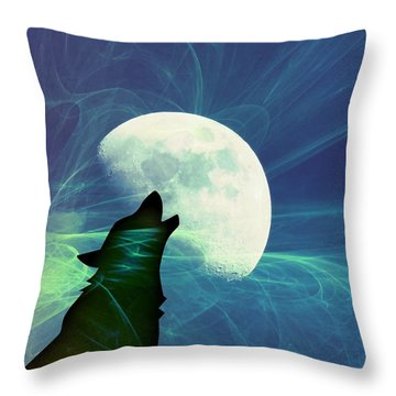 Howling Moon Throw Pillow