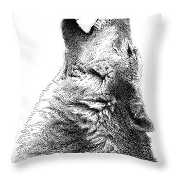 Howling Timber Wolf Throw Pillow
