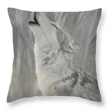 Throw Pillow featuring the painting Howling Wolf by Kevin Daly