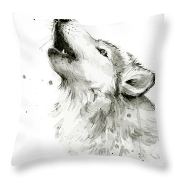 Howling Wolf Watercolor Throw Pillow