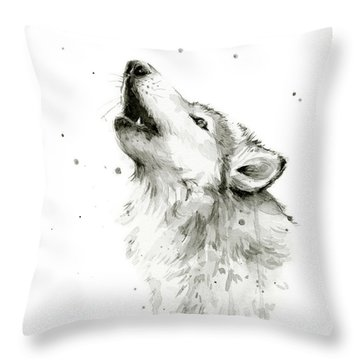 Howling Wolf Watercolor Throw Pillow by Olga Shvartsur