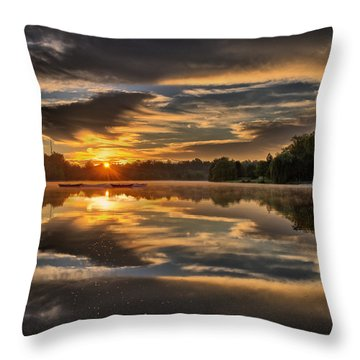 Hoyt Lake Sunrise - Square Throw Pillow