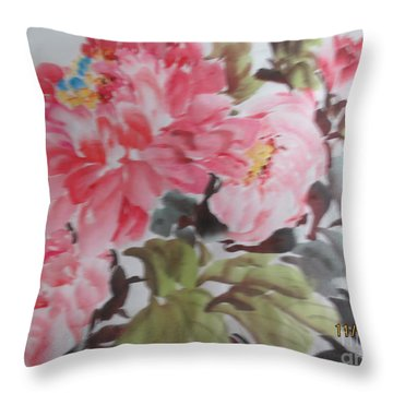 Throw Pillow featuring the painting Hp11192015-0757 by Dongling Sun