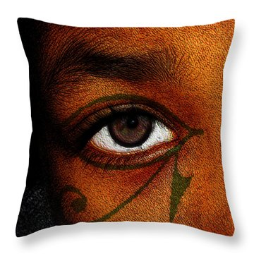 Throw Pillow featuring the digital art Hru's Eye by Iowan Stone-Flowers