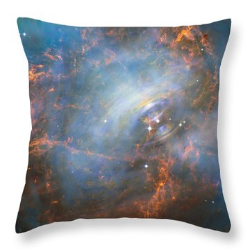 Throw Pillow featuring the photograph Hubble Captures The Beating Heart Of The Crab Nebula by Nasa