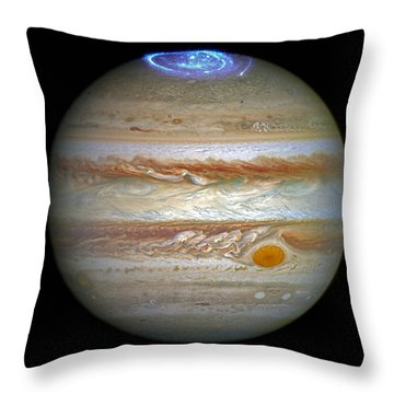 Throw Pillow featuring the photograph Hubble Captures Vivid Auroras In Jupiter's Atmosphere by Nasa