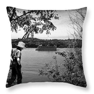 Huck Finn Type Walking On River  Throw Pillow by Randall Branham