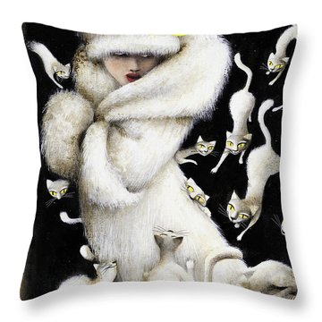 Huddling For Warmth Throw Pillow