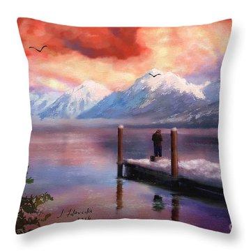 Hudson Bay Winter Fishing Throw Pillow by Judy Filarecki