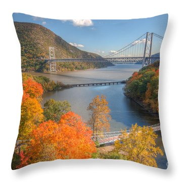 Hudson River And Bridges Throw Pillow by Clarence Holmes