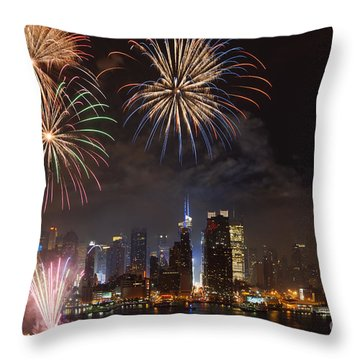 Hudson River Fireworks Iv Throw Pillow by Clarence Holmes