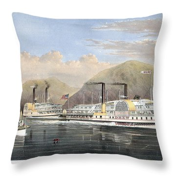 Hudson River Steamships Throw Pillow by Granger
