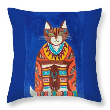 Huey Cat Throw Pillow