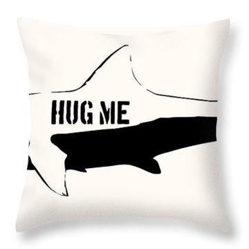 Hug Me Shark - Black  Throw Pillow