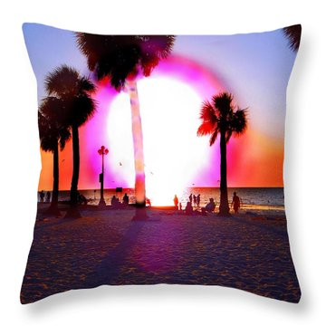 Huge Sun Pine Island Sunset  Throw Pillow by Expressionistart studio Priscilla Batzell