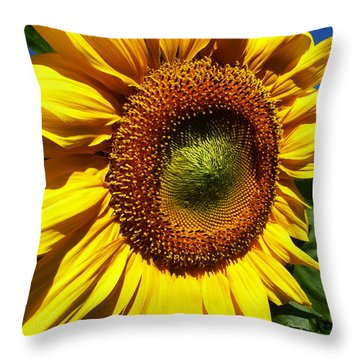 Huge Bright Yellow Sunflower Throw Pillow