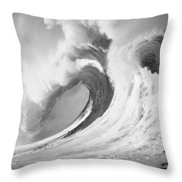 Huge Curling Wave - Bw Throw Pillow by Ali ONeal - Printscapes