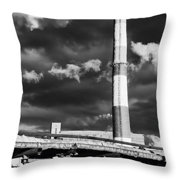 Huge Industrial Chimney And Smoke In Black And White Throw Pillow