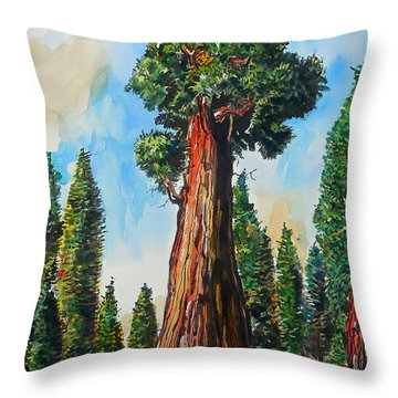 Throw Pillow featuring the painting Huge Redwood Tree by Terry Banderas