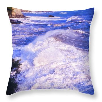 Throw Pillow featuring the photograph Huge Wave In Ligurian Sea by Silvia Ganora