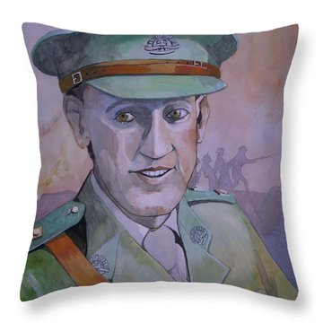 Throw Pillow featuring the painting Hugo Throssel Vc by Ray Agius