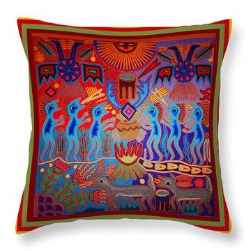 Throw Pillow featuring the digital art Huichol Tribal Fire Ritual by Vagabond Folk Art - Virginia Vivier