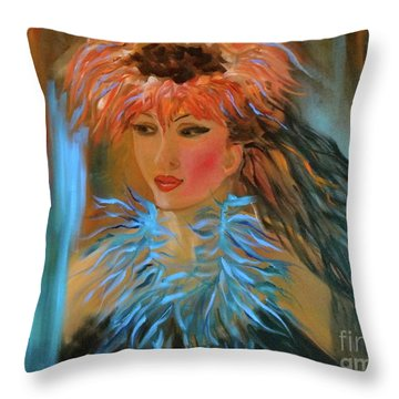 Hula In Turquoise Throw Pillow